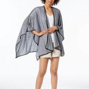 Calvin Klein Striped Sporty Shawl Wrap Black OS
